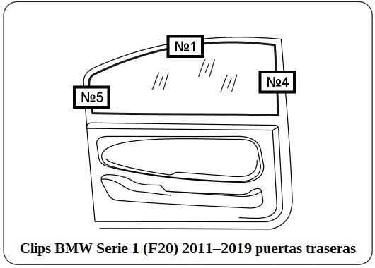 Clips BMW Serie 1 F20 2011–2019 puertas traseras