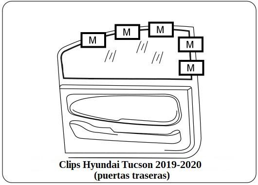 Clips magneticos Hyundai Tucson 2019 2020 puertas traseras