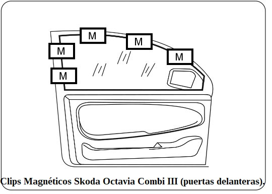 clips magneticos skoda octavia combi III puertas delanteras.